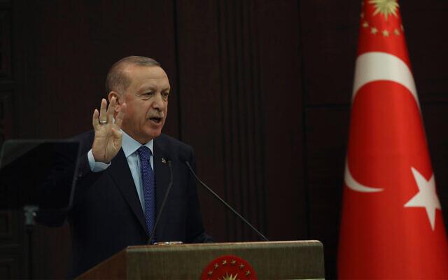 Turkey's President Recep Tayyip Erdogan speaks in Ankara, Turkey, March 18, 2020. (AP/Burhan Ozbilici)