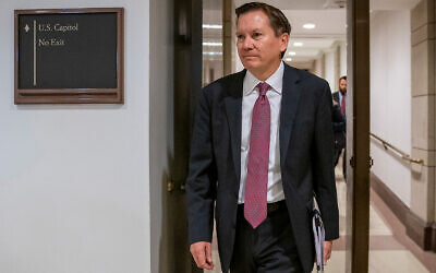 Michael Atkinson, the inspector general of the intelligence community, arrives at the Capitol in Washington for closed-door questioning about a whistleblower complaint that triggered US President Donald Trump's impeachment, October 4, 2019. (AP/J. Scott Applewhite, File)