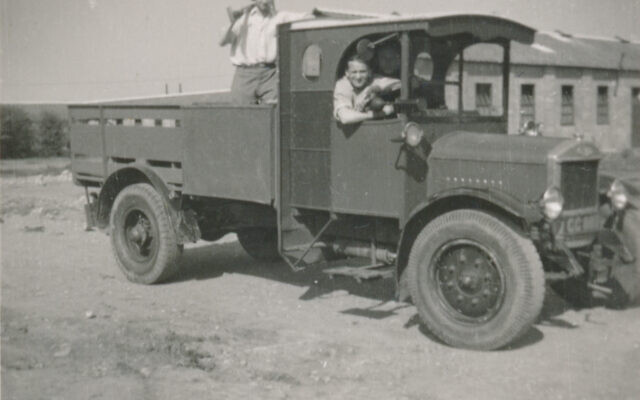Victor Cohn in a truck at the Kitchener Camp. (Courtesy/ family of Victor Cohn)