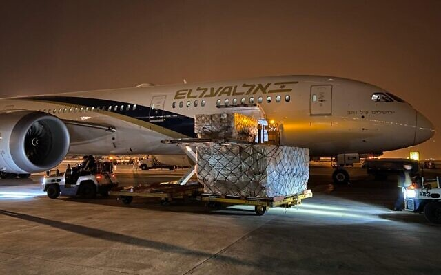 In this photo sent out by the Defense Ministry on April 5, 2020, an El Al plane in China is loaded with medical equipment to bring to Israel. (El Al)