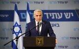Yesh Atid-Telem leader Yair Lapid gives a statement to the press on April 21, 2020. (Elad Guttman/Yesh Atid-Telem)