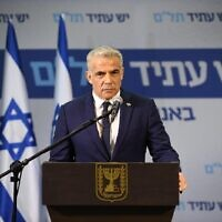 Yesh Atid-Telem leader Yair Lapid gives a statement to the press on April 21, 2020. (Elad Guttman/Yesh Atid-Telem)