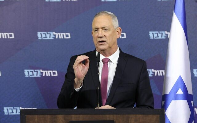 Blue and White chief Benny Gantz in his first public address after signing a deal to form a unity government with Prime Minister Benjamin Netanyahu, April 21, 2020. (Elad Malka/Blue and White)