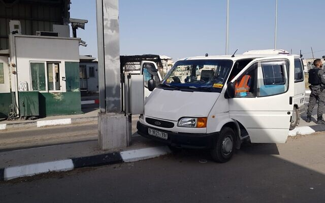 The scene of a combined car ramming-stabbing attack at a checkpoint near the Maale Adumim settlement in the West Bank on April 22, 2020. (Israel Police)