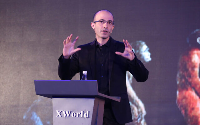 Israeli historian and writer Yuval Noah Harari gives a lecture on artificial intelligence during the X World Future Evolution on July 6, 2017 in Beijing, China.  (VCG/VCG via Getty Images via JTA)