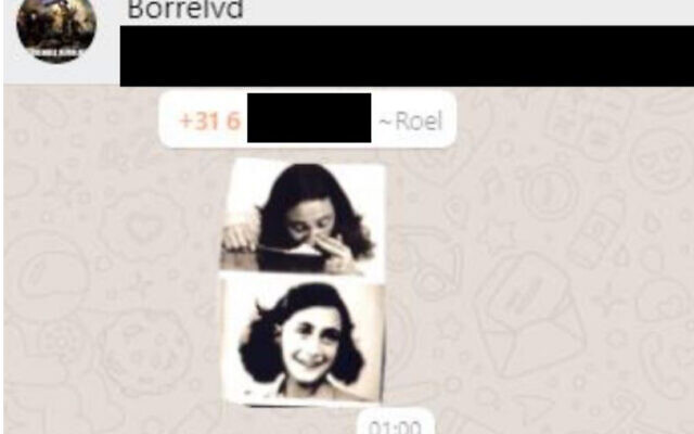 A screenshot of the meme of Anne Frank shared on the WhatsApp group of the young supporters of the Forum for Democracy party in the Netherlands. (HPDeTijd via JTA)