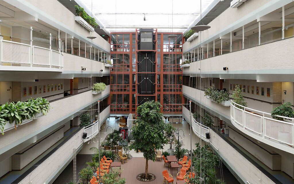The atrium at the Beth Shalom nursing home in Amsterdam, which has been Dutch Jewry's hardest-hit institution from the coronavirus. (Courtesy of BOP architecten via JTA)