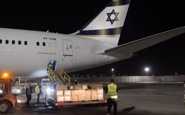 Surgical face masks arrive in Israel from China, April 17, 2020 (Screen grab/Kan)