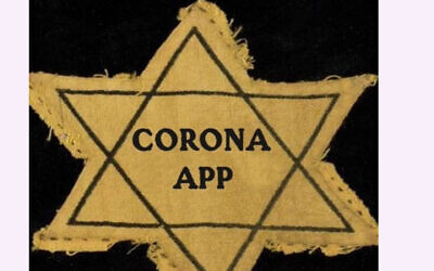 A photo tweeted by a city councilman in the Hague, that references the yellow stars Jews were forced to wear during the Holocaust, to protest an application for monitoring coronavirus carriers. (Arnoud van Doorn/Twitter via JTA)