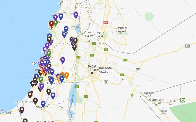 Screenshot of the The Doing Good Map section for Israel, showing good deeds being carried out all over the country.