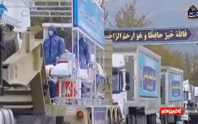 Iran marks annual 'Army Day' with parade including disinfectant trucks and mobile medical units as country faces coronavirus pandemic (Screen grab/Twitter)