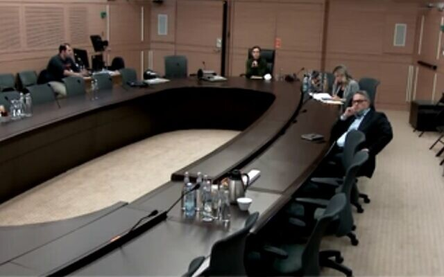 Knesset committee on coronavirus meets April 5, 2020 (Screen grab/Channel 12)
