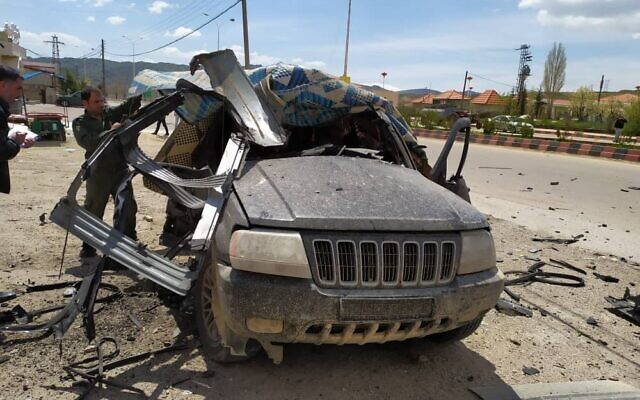 A vehicle allegedly used by Hezbollah to transfer arms that was targeted in an airstrike attributed to Israel near the Lebanon border in Syria on April 15, 2020. (Social media)
