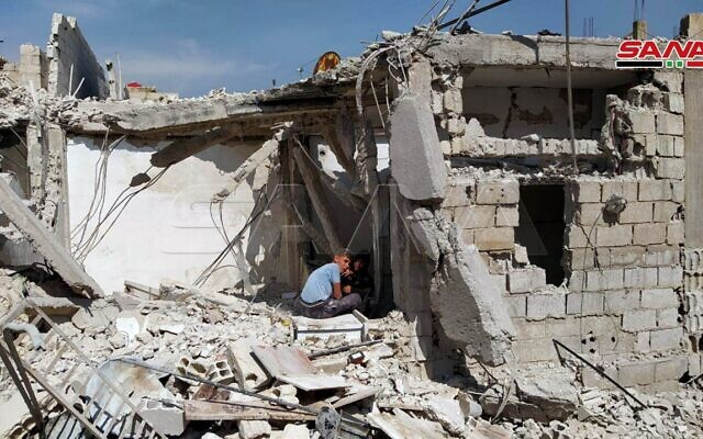 A house that was hit by shrapnel during an alleged Israeli strike outside Damascus on April 27, 2020. (Syrian state media SANA)