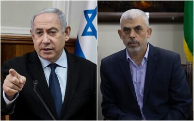 Left, Prime Minister Benjamin Netanyahu chairs the weekly cabinet meeting at the Prime Minister's office in Jerusalem on December 22, 2019. (AP/Tsafrir Abayov, Pool). Hamas leader Yahya Sinwar meets with the head of the Central Elections Commission, Hanna Nasser, in Gaza City on Octoberr 28, 2019. (AP/Khalil Hamra)