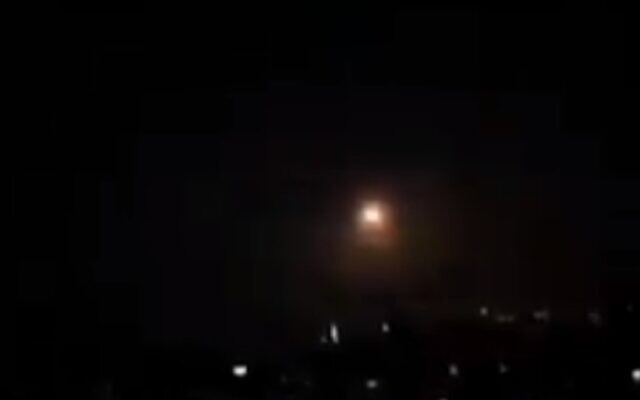 Illustrative: A Syrian anti-aircraft missile fired over Damascus on April 27, 2020 (screencapture/Twitter)