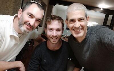 Gabi Arnovitz (center) with David Suraqui  (L) and Uriel Shuraki. (Courtesy)
