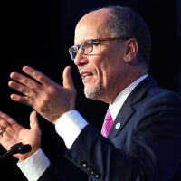 Democratic National Committee Chairman Tom Perez speaks in North Carolina before Super Tuesday, February 29, 2020. (Joe Raedle/Getty Images via JTA)