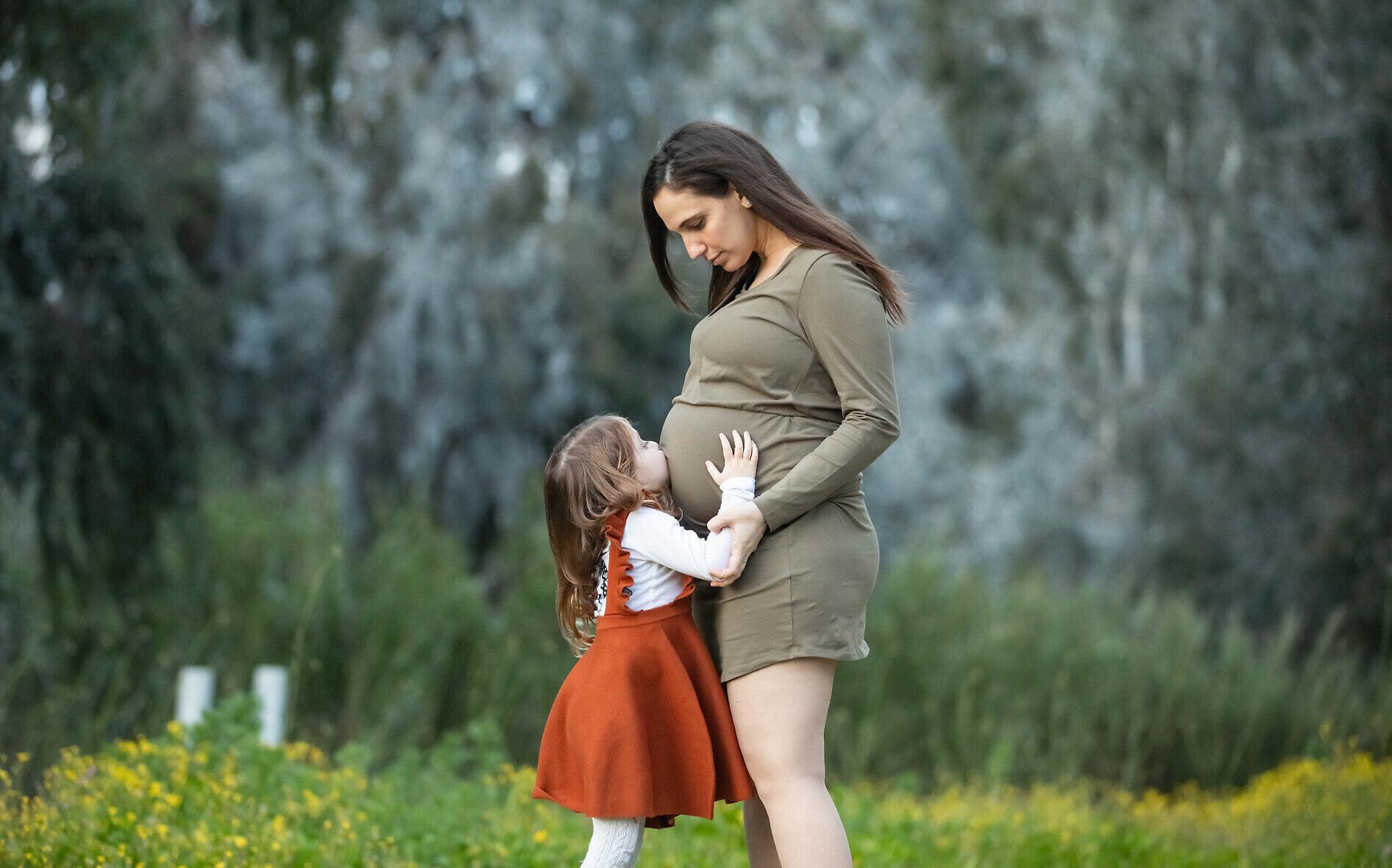 Lital Kremer, pictured a few weeks before she gave birth on April 23, 2020 (Stav Blank)