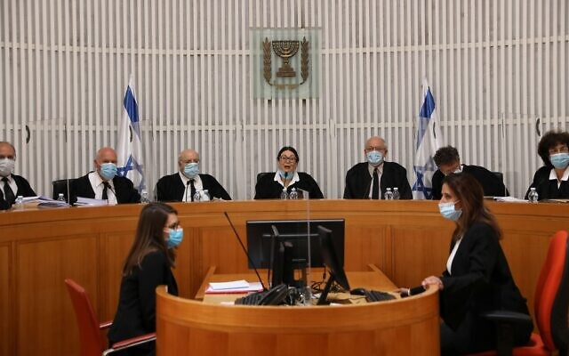 A High Court of Justice hearing at the Supreme Court in Jerusalem on May 4, 2020. (Abir Sultan/Pool/AFP)