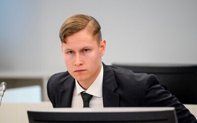 Norwegian Philip Manshaus at the courtroom for the start of his murder and terror trial at Asker and Baerum district court, outside Oslo, on May 7, 2020.(Lise Åserud / NTB Scanpix / AFP)