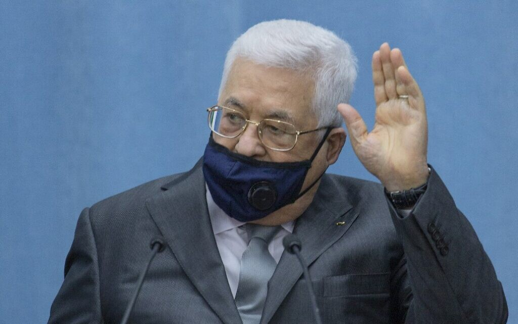 Palestinian Authority President Mahmoud Abbas at his headquarters in the West Bank city of Ramallah on May 7, 2020. (Nasser Nasser/Pool/AFP)