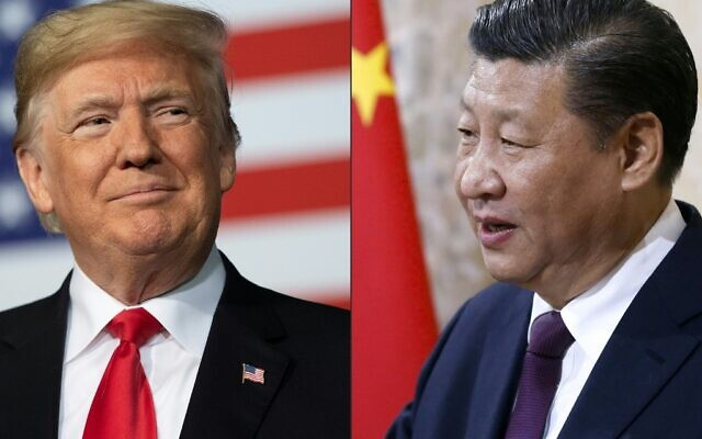 (COMBO) This combination of pictures created on May 14, 2020 shows recent portraits of  China's President Xi Jinping (R) and US President Donald Trump. (Jim WATSON and PETER KLAUNZER / various sources / AFP)