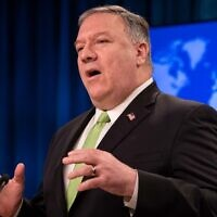 US Secretary of State Mike Pompeo speaks during a press conference at the State Department in Washington on May 20, 2020. (Nicholas Kamm/Pool/AFP)