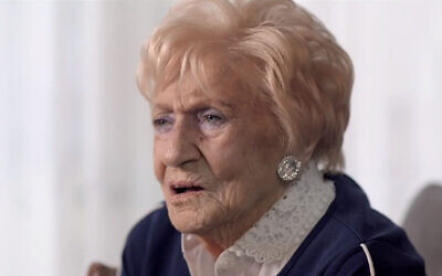Femma Fleisjman talks about her deportation to Auschwitz in a 2018 interview with the EO television channel. (Courtesy of Jewish Programming EO/ via JTA)