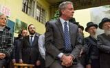 New York City Mayor Bill de Blasio attends a press conference after meeting with Satmar Jewish community leaders to denounce the hate crime attack in Jersey City, December 12, 2019 in the Williamsburg neighborhood of Brooklyn, New York. (Andrew Lichtenstein/Corbis via Getty Images)