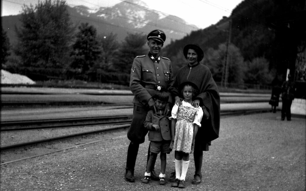 Horst Wachter, with Charlotte, Otto von Wachter, and daughter Traute and the Zell-am-See station in 1944. (Courtesy Horst Wächter)