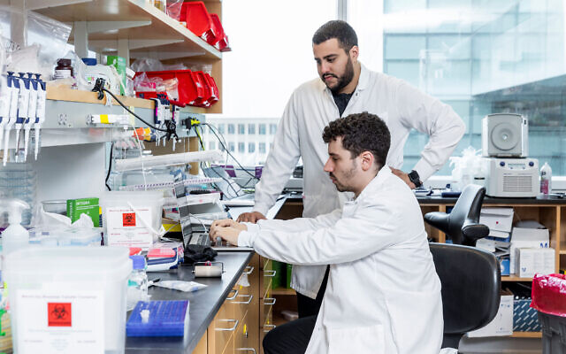 Jonathan Gootenberg, sitting, and Omar Abudayyeh, standing, at their MIT lab on October 31, 2019. (McGovern Institute for Brain Research at MIT/ Photo by Caitlin Cunningham Photography)
