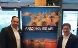 David Yaari, director general, Arizona Israel Trade and Investment Office, left, and Governor Doug Ducey of Arizona (Davidi Vortman)