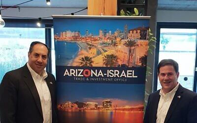 David Yaari, director general, Arizona Israel Trade and Investment Office, left, and Governor Doug Ducey of Arizona (Davidi Vortman)