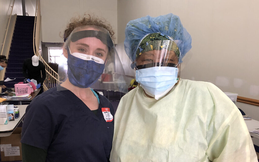 Medical student Tal Lee, left, and nurse Michele Morton are working with the Black Doctors COVID-19 Consortium to provide free coronavirus testing. (Courtesy of Lee/ via JTA)