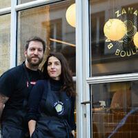 Emmanuel Murat and Sarah Amouyal are the husband-wife team behind Babka Zana in the Pigalle neighborhood. (Geraldine Martens/via JTA)