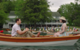Rachel Brosnahan and Zachary Levi in a scene filmed at Scott's Family Resort. (Screenshot from Amazon via JTA)
