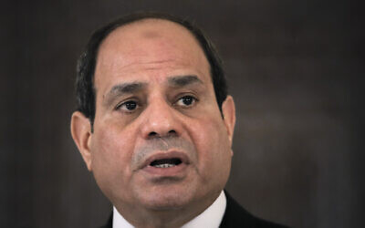 Egyptian President Abdel Fattah el-Sisi speaks during a press conference in Bucharest, Romania, June 19, 2019. (AP Photo/Vadim Ghirda, File)