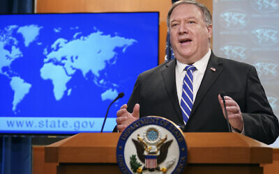 US Secretary of State Mike Pompeo speaks about the coronavirus during news conference at the State Department in Washington, May 6, 2020. (Kevin Lamarque/Pool Photo via AP)