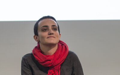 Lina Attalah, editor-in-chief of Mada Masr, a prominent investigative media outlet in Egypt, participates in a panel discussion at cultural center  in Cairo, Egypt, on November 24, 2017. (AP/Roger Anis/File)