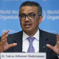Tedros Adhanom Ghebreyesus, director general of the World Health Organization, speaks during a news conference on updates regarding the novel coronavirus, at the WHO headquarters in Geneva, Switzerland. (Salvatore Di Nolfi/Keystone via AP, file)