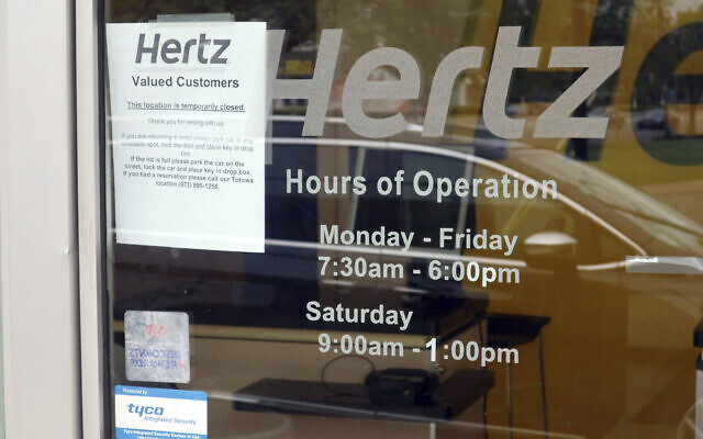 A Hertz car rental is closed during the coronavirus pandemic in Paramus New Jersey
