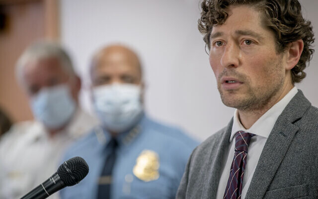 Minneapolis Mayor Jacob Frey speaks during a news conference Thursday, May 28, 2020 in Minneapolis, Minnesota (Elizabeth Flores/Star Tribune via AP)