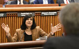 Assemblywoman Nicole Malliotakis, Republican of Staten Island, questions New York City Mayor Bill de Blasio during a joint legislative budget hearing on local government February 11, 2019, in Albany, NY (AP Photo/Hans Pennink)