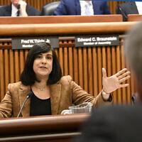 Assemblywoman Nicole Malliotakis, R-Staten Island, questions New York City Mayor Bill de Blasio during a joint legislative budget hearing on local government Monday, Feb. 11, 2019, in Albany, N.Y. (AP Photo/Hans Pennink)