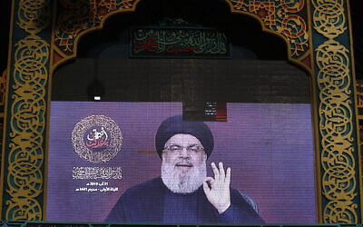 Hezbollah leader Hassan Nasrallah, seen here in this file photo, said May 22, 2020 that the organization's real enemy is the United States. (AP Photo/Hussein Malla)