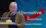AfD Federal Chairman Alexander Gauland delivers a speech during the official beginning of the far-right Alternative fuer Deutschland (AfD) state election campaign in Arnstadt, Germany, on September 18, 2019. (AP Photo/Jens Meyer)
