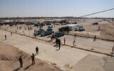 Iraqi security forces at the crossing between the Iraqi town of Qaim and Syria's Boukamal, in Qaim, Iraq, September 30, 2019. (Hadi Mizban/AP)
