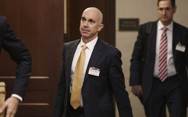 US State Department Inspector General Steve Linick leaves a meeting in a secure area at the Capitol where he met with Senate staff about the State Department and Ukraine, in Washington, Oct. 2, 2019. (AP/J. Scott Applewhite)