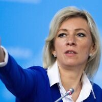 File: Russian Foreign Ministry spokesperson Maria Zakharova in Moscow, Russia, Friday, Jan. 17, 2020 (AP Photo/Alexander Zemlianichenko)